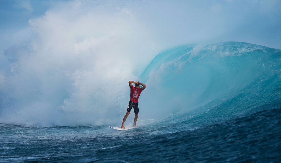 Owen Wright moments after the wave that gave him a perfect heat in Fiji. Photo: WSL